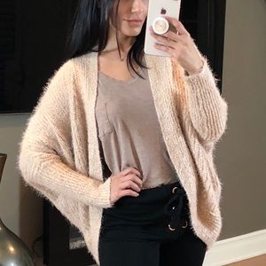 Sweaters - DREAM Pale Pink Fuzzy Soft Batwing Cardigan